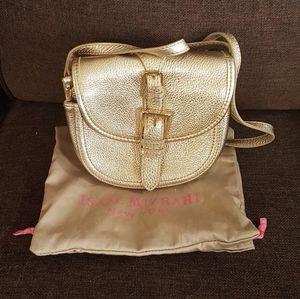 Issac Mizrahi mini gold leather crossbody bag